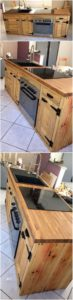 Pallet Kitchen Island Table with Sink
