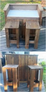 Pallet Bar Counter Table and Stools