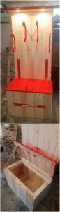 Pallet Coat Rack with Storage