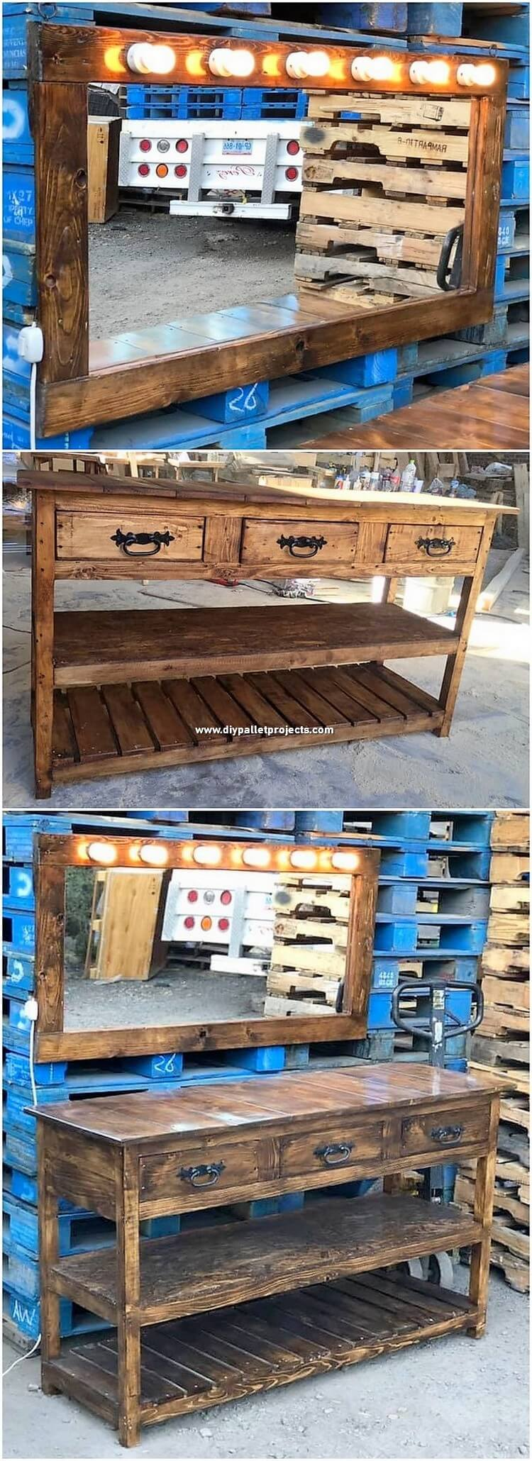 Pallet Mirror Frame and Table with Drawers