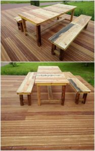 Pallet Table and Benches