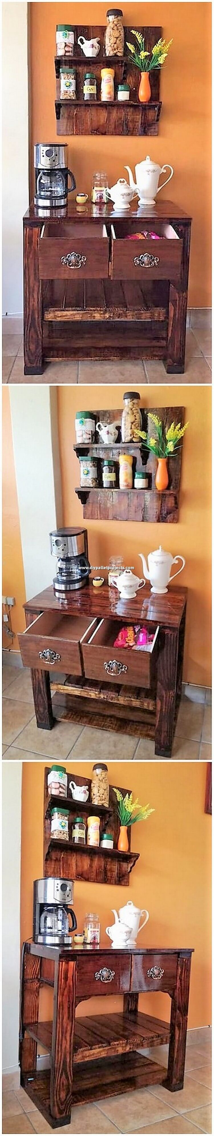 Pallet Table with Drawers and Wall Shelf