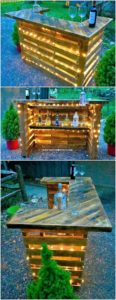 Pallet Wine Bar with Lights