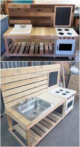 Pallet Wood Kitchen with Sink