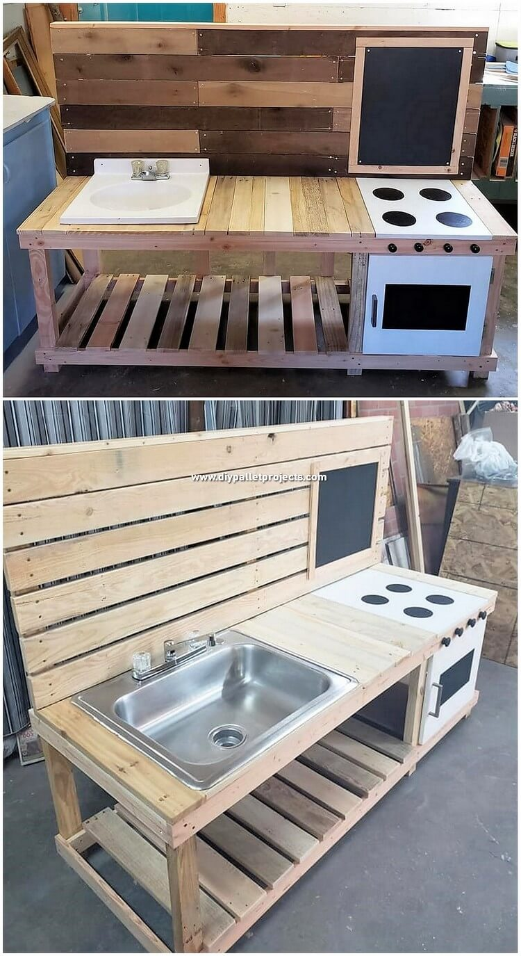 Pallet Wood Kitchen with Sink