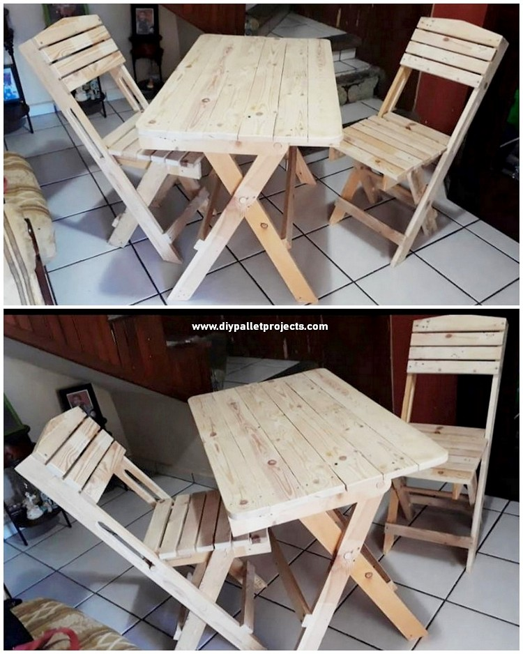 Pallet Wood Table and Chairs