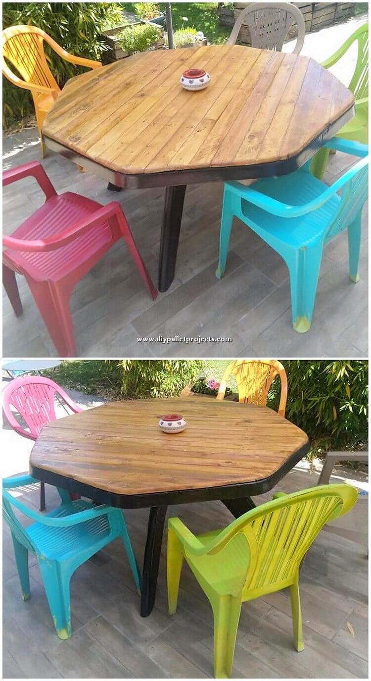 Round Top Wood Pallet Table