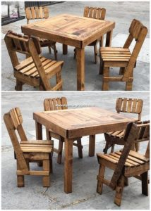 Wood Pallet Dining Furniture Set