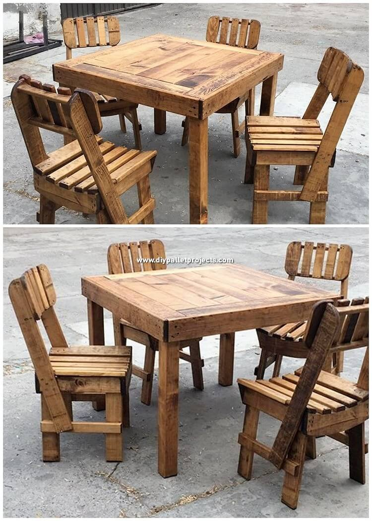Wood Pallet Dining Furniture Set