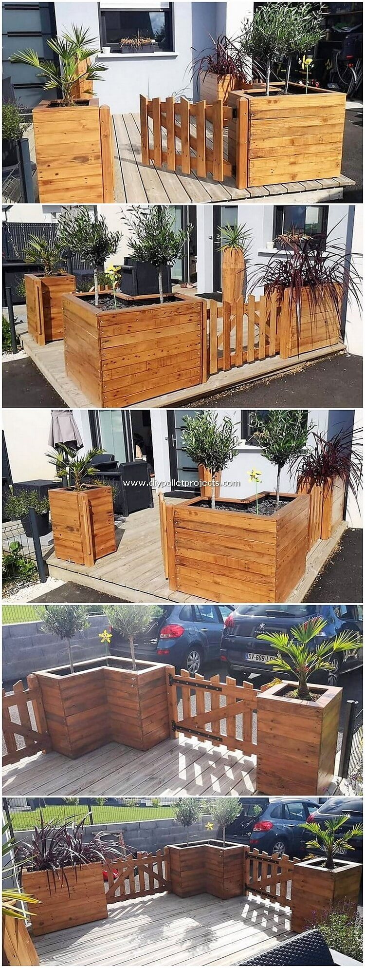 Pallet Garden Planters with Fence