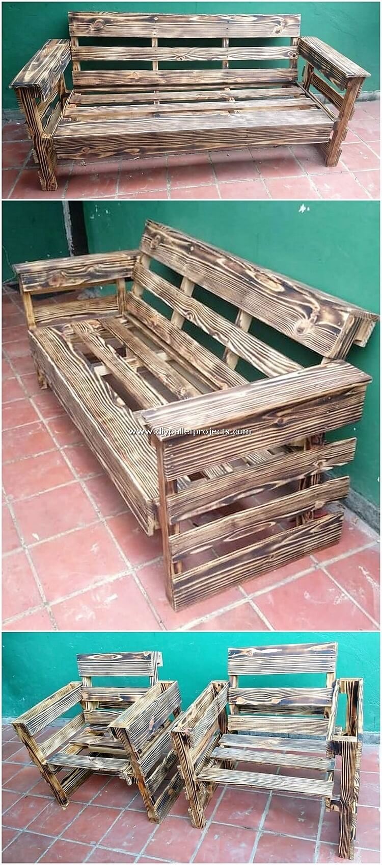 Pallet Bench and Chairs