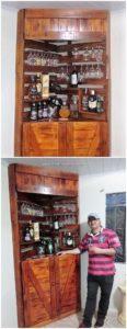 Pallet Corner Wine Rack Cabinet